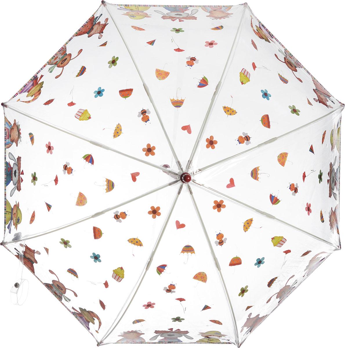 Зонт-трость детский Zest механический, цвет: прозрачный, оливковый. 51510-05K50K502473_0010Детский зонт-трость Zest выполнен из металла и пластика. Каркас зонта выполнен из восьми спиц, стержень из стали. На концах спиц предусмотрены пластиковые элементы, которые защитят малыша от травм. Купол зонта изготовлен прочного полиэстера. Закрытый купол застегивается на липучку хлястиком. Практичная глянцевая рукоятка закругленной формы разработана с учетом требований эргономики и выполнена из пластика.Чудесный прозрачный зонтик с изображением красочного рисунка на прозрачном куполе. Эта очень позитивная, прочная в применении модель обязательно понравится вашему ребенку.