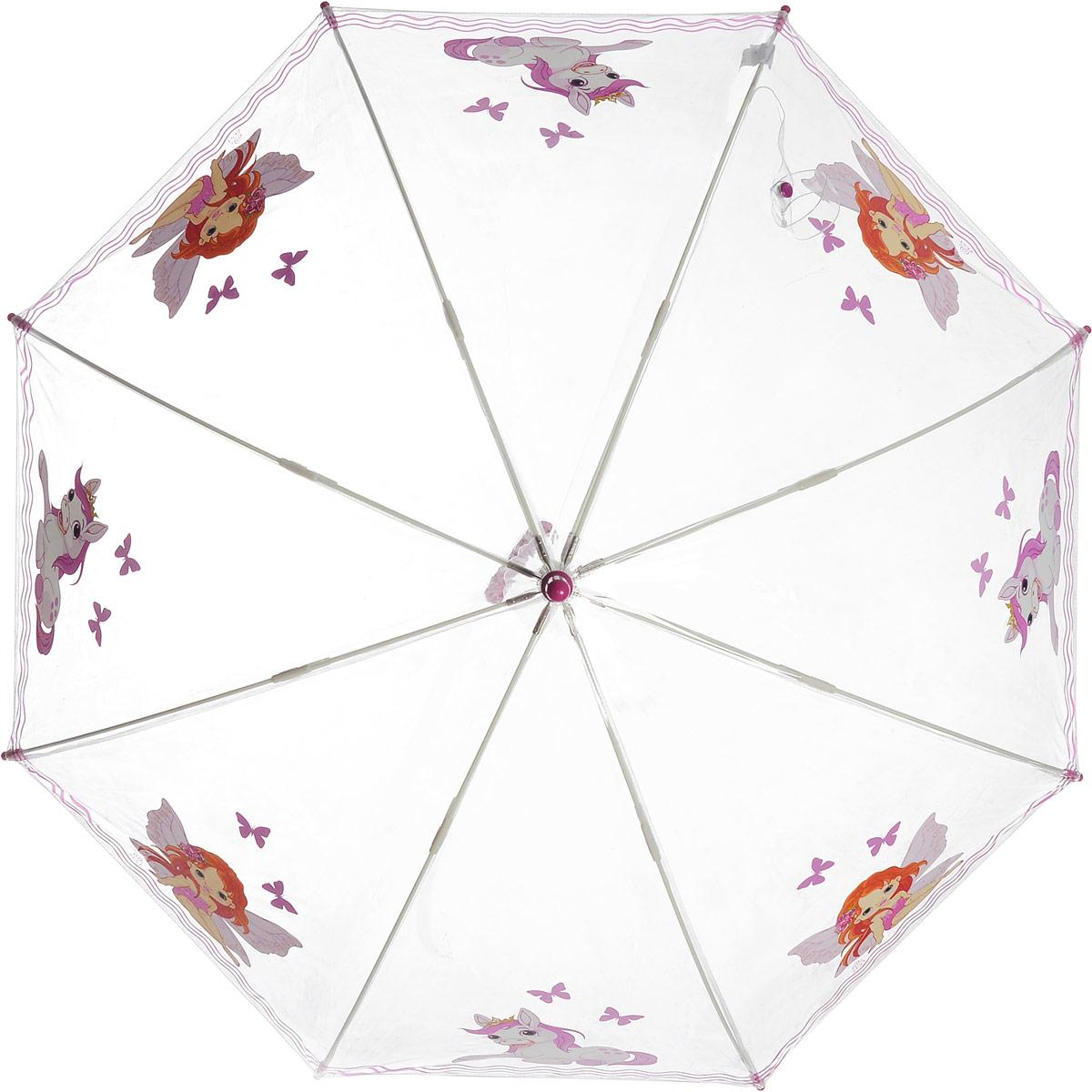 Зонт-трость детский Zest механический, цвет: прозрачный, розовый. 51510-06Пуссеты (гвоздики)Детский зонт-трость Zest выполнен из металла и пластика. Каркас зонта выполнен из восьми спиц, стержень из стали. На концах спиц предусмотрены пластиковые элементы, которые защитят малыша от травм. Купол зонта изготовлен прочного полиэстера. Закрытый купол застегивается на липучку хлястиком. Практичная глянцевая рукоятка закругленной формы разработана с учетом требований эргономики и выполнена из пластика.Чудесный прозрачный зонтик с изображением красочного рисунка на прозрачном куполе. Эта очень позитивная, прочная в применении модель обязательно понравится вашему ребенку.