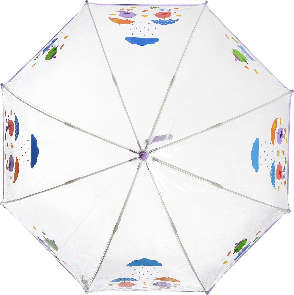 Зонт-трость детский Zest механический, цвет: прозрачный, сиреневый. 51510-02K60K603557_0130Детский зонт-трость Zest выполнен из металла и пластика. Каркас зонта выполнен из восьми спиц, стержень из стали. На концах спиц предусмотрены пластиковые элементы, которые защитят малыша от травм. Купол зонта изготовлен прочного полиэстера. Закрытый купол застегивается на липучку хлястиком. Практичная глянцевая рукоятка закругленной формы разработана с учетом требований эргономики и выполнена из пластика.Чудесный прозрачный зонтик с изображением красочного рисунка на прозрачном куполе. Эта очень позитивная, прочная в применении модель обязательно понравится вашему ребенку.