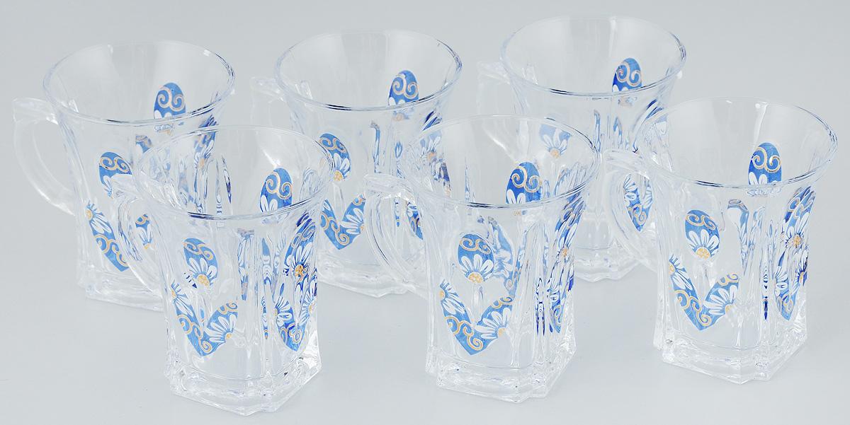 Набор кружек Loraine, цвет: прозрачный, синий, белый, 175 мл, 6 шт115510Набор Loraine, выполненный из прочного натрий-кальций-силикатного стекла в мягких тонах с оригинальным цветочным узором, состоит из шести кружек с удобными ручками.Набор стаканов Loraine станет отличным подарком на любой праздник. Не рекомендуется мыть в посудомоечной машине.Диаметр кружки (по верхнему краю): 7,5 см.Высота кружки: 9 см.Объем кружки: 175 мл.