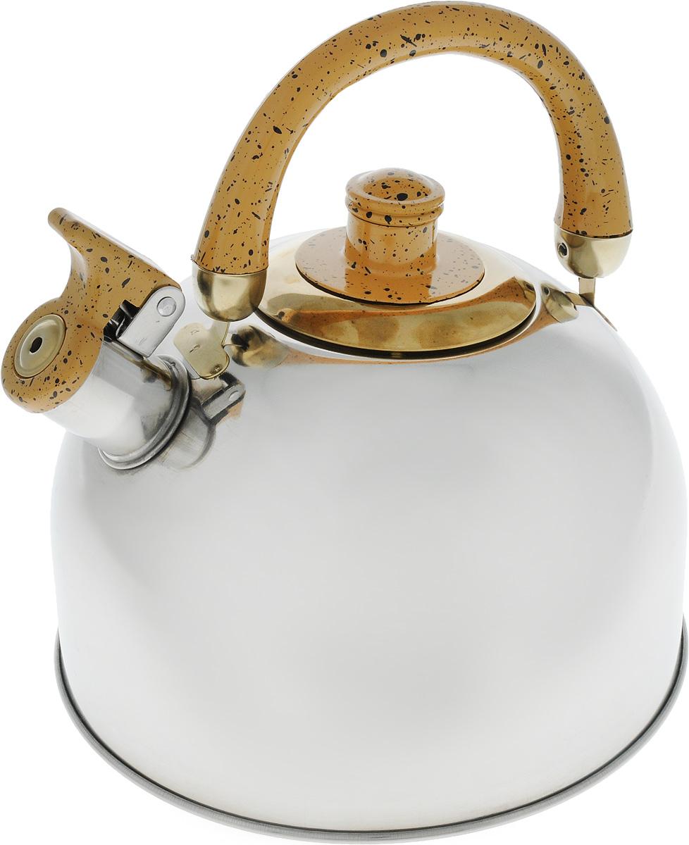 Чайник Mayer & Boch, цвет: стальной, золотой, 4 л. 1046A54 009312Чайник Mayer & Boch изготовлен из высококачественной нержавеющей стали с зеркальной полировкой, что делает его весьма гигиеничным и устойчивым к износу при длительном использовании. Гладкая и ровная поверхность существенно облегчает уход за посудой. Выполненный из качественных материалов чайник при кипячении сохраняет все полезные свойства воды. Носик чайника имеет откидной свисток, звуковой сигнал которого подскажет, когда закипит вода. Крышка, свисток и ручка выполнены из бакелита.Классический дизайн чайника Mayer & Boch дополнит любую кухню. Подходит для использования на всех типах кухонных плит, кроме индукционных.Высота чайника (с учетом ручки): 21 см. Высота чайника (без учета ручки и крышки): 12 см. Диаметр по верхнему краю: 8,5 см.