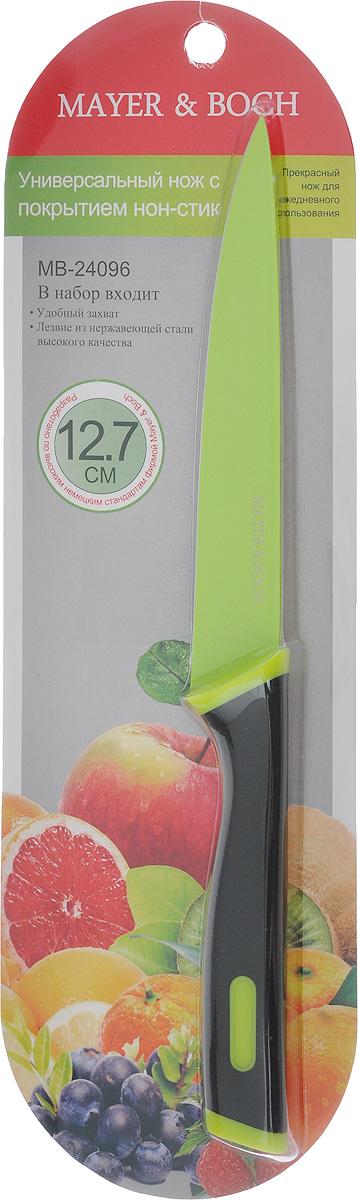 Нож универсальный Mayer & Boch, цвет: черный, салатовый, длина лезвия 12,7 см24096_черный, салатовыйУниверсальный нож Mayer & Boch с лезвием из высококачественной нержавеющей стали станет незаменимым помощником на вашей кухне. Изделие имеет специальное Non-Stick покрытие, предотвращающее прилипание продуктов к лезвию ножа. Сечение ножа клинообразное, что позволяет режущей кромке клинка быть продолжительное время острой. Поверхность клинка легко моется и не впитывает запахи пищи при нарезке различных продуктов. Этот универсальный нож идеально подойдет для нарезки мяса, рыбы, овощей, фруктов и других продуктов. Эргономичная рукоятка ножа с прорезиненным покрытием удобно ложится в ладонь, обеспечивая безопасную работу, комфортное положение в руке и надежный захват. Общая длина ножа: 24 см.