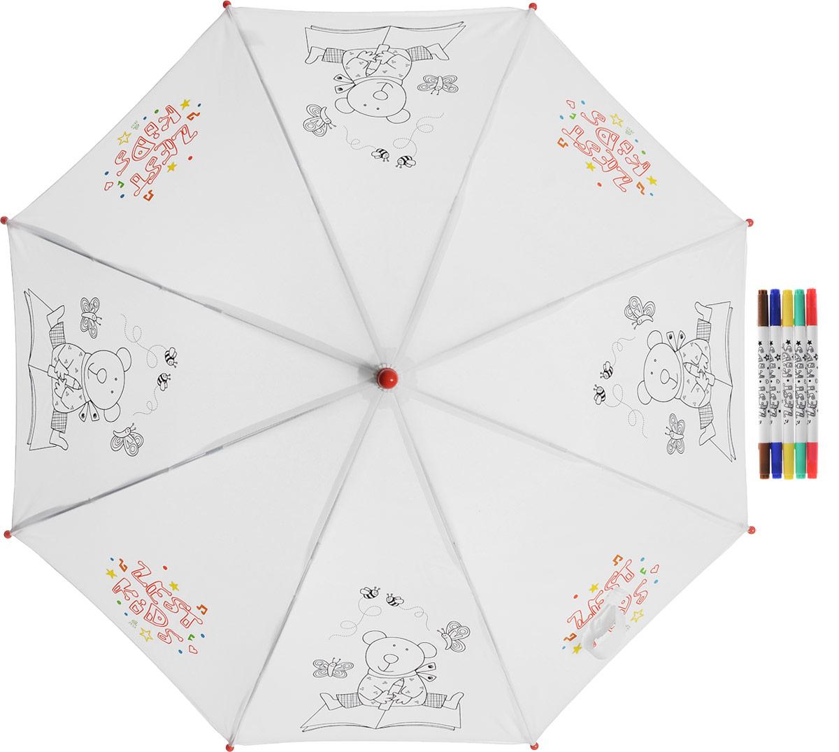 Зонт-трость детский Zest механический, цвет: белый. 21581-255Колье (короткие одноярусные бусы)Детский зонт-трость для раскрашивания Zest выполнен из металла и пластика, оформлен силуэтами картинок. Картинки малыш сможет раскрасить самостоятельно фломастерами, входящими в комплект.Каркас зонта выполнен из восьми спиц, стержень из стали. На концах спиц предусмотрены пластиковые элементы, которые защитят малыша от травм. Купол зонта изготовлен прочного полиэстера. Закрытый купол застегивается на липучку хлястиком. Практичная глянцевая рукоятка закругленной формы разработана с учетом требований эргономики и выполнена из пластика.Зонт-раскраска будет приятным подарком, который не только защитит малыша от непогоды, но и даст возможность стать настоящим маленьким художником.