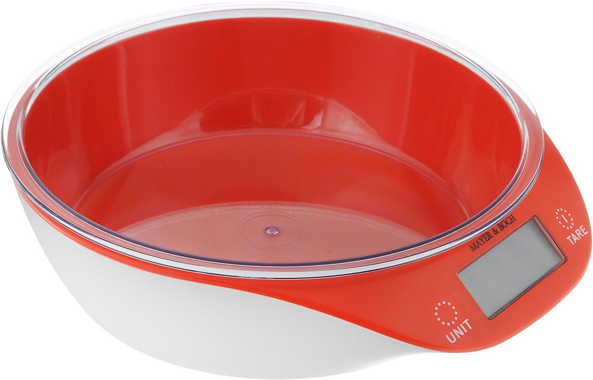 Весы кухонные Mayer & Bosh, с чашей, цвет: красный, белый, до 5 кг10955_красныйКухонные весы Mayer & Boch изготовлены из высококачественного пластика. Изделие оснащено акриловой панелью и съемной чашей. Весы имеют цифровой LCD-дисплей с функцией автоматического отключения и тарокомпенсации, а также мощный процессор и тензометрический датчик высокой прочности. Кухонные весы Mayer & Boch пригодятся на любой кухне и станут прекрасным дополнением к набору вашей мелкой бытовой техники. Используя их, вы сможете готовить блюда, точно следуя предложенной рецептуре, что немаловажно при приготовлении сложных блюд, соусов и выпечки.Оригинальные, с ярким дизайном, такие весы украсят любую кухню и принесут радость каждой хозяйке. Нагрузка: 2-5000 г.Питание: ААА х 2 (входят в комплект).Размер весов: 20 х 19 х 5,5 см.Размер чаши: 18 х 18 х 4,5 см.