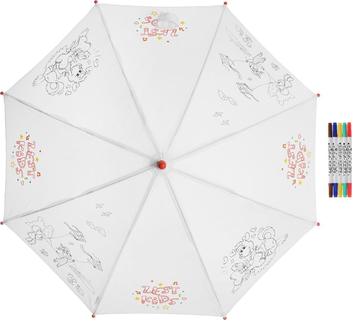Зонт-трость детский Zest механический, цвет: белый. 21581-252CX1516-50-10Детский зонт-трость для раскрашивания Zest выполнен из металла и пластика, оформлен силуэтами картинок. Картинки малыш сможет раскрасить самостоятельно фломастерами, входящими в комплект.Каркас зонта выполнен из восьми спиц, стержень из стали. На концах спиц предусмотрены пластиковые элементы, которые защитят малыша от травм. Купол зонта изготовлен прочного полиэстера. Закрытый купол застегивается на липучку хлястиком. Практичная глянцевая рукоятка закругленной формы разработана с учетом требований эргономики и выполнена из пластика.Зонт-раскраска будет приятным подарком, который не только защитит малыша от непогоды, но и даст возможность стать настоящим маленьким художником.