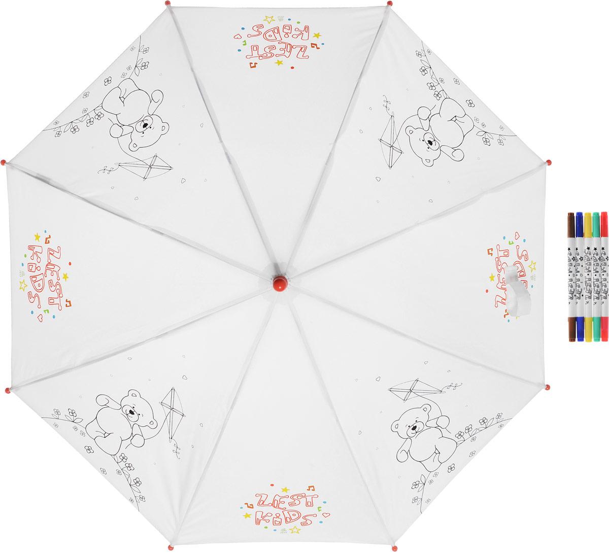 Зонт-трость детский Zest механический, цвет: белый. 21581-254Колье (короткие одноярусные бусы)Детский зонт-трость для раскрашивания Zest выполнен из металла и пластика, оформлен силуэтами картинок. Картинки малыш сможет раскрасить самостоятельно фломастерами, входящими в комплект.Каркас зонта выполнен из восьми спиц, стержень из стали. На концах спиц предусмотрены пластиковые элементы, которые защитят малыша от травм. Купол зонта изготовлен прочного полиэстера. Закрытый купол застегивается на липучку хлястиком. Практичная глянцевая рукоятка закругленной формы разработана с учетом требований эргономики и выполнена из пластика.