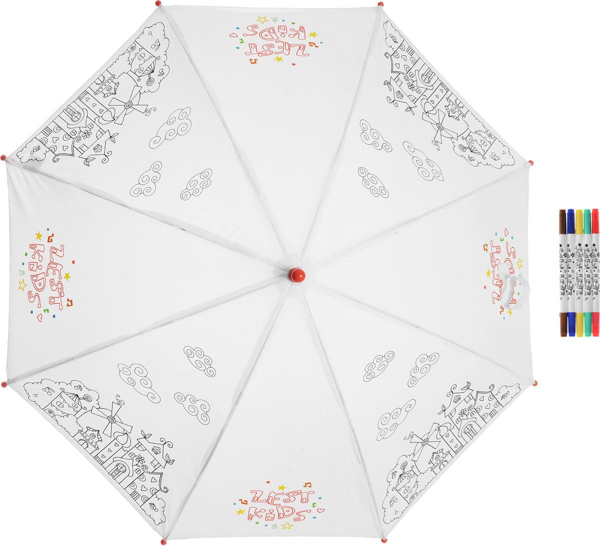 Зонт-трость детский Zest механический, цвет: белый. 21581-257REM12-CAM-GREENBLACKДетский зонт-трость для раскрашивания Zest выполнен из металла и пластика, оформлен силуэтами картинок. Картинки малыш сможет раскрасить самостоятельно фломастерами, входящими в комплект.Каркас зонта выполнен из восьми спиц, стержень из стали. На концах спиц предусмотрены пластиковые элементы, которые защитят малыша от травм. Купол зонта изготовлен прочного полиэстера. Закрытый купол застегивается на липучку хлястиком. Практичная глянцевая рукоятка закругленной формы разработана с учетом требований эргономики и выполнена из пластика.