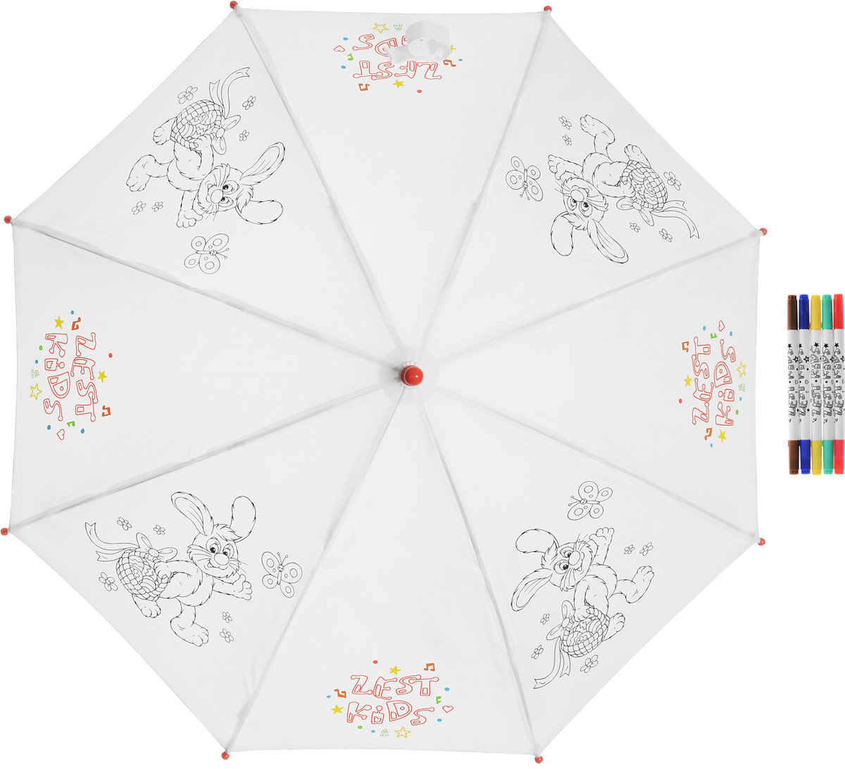 Зонт-трость детский Zest механический, цвет: белый. 21581-253CX1516-50-10Детский зонт-трость для раскрашивания Zest выполнен из металла и пластика, оформлен силуэтами картинок. Картинки малыш сможет раскрасить самостоятельно фломастерами, входящими в комплект.Каркас зонта выполнен из восьми спиц, стержень из стали. На концах спиц предусмотрены пластиковые элементы, которые защитят малыша от травм. Купол зонта изготовлен прочного полиэстера. Закрытый купол застегивается на липучку хлястиком. Практичная глянцевая рукоятка закругленной формы разработана с учетом требований эргономики и выполнена из пластика.