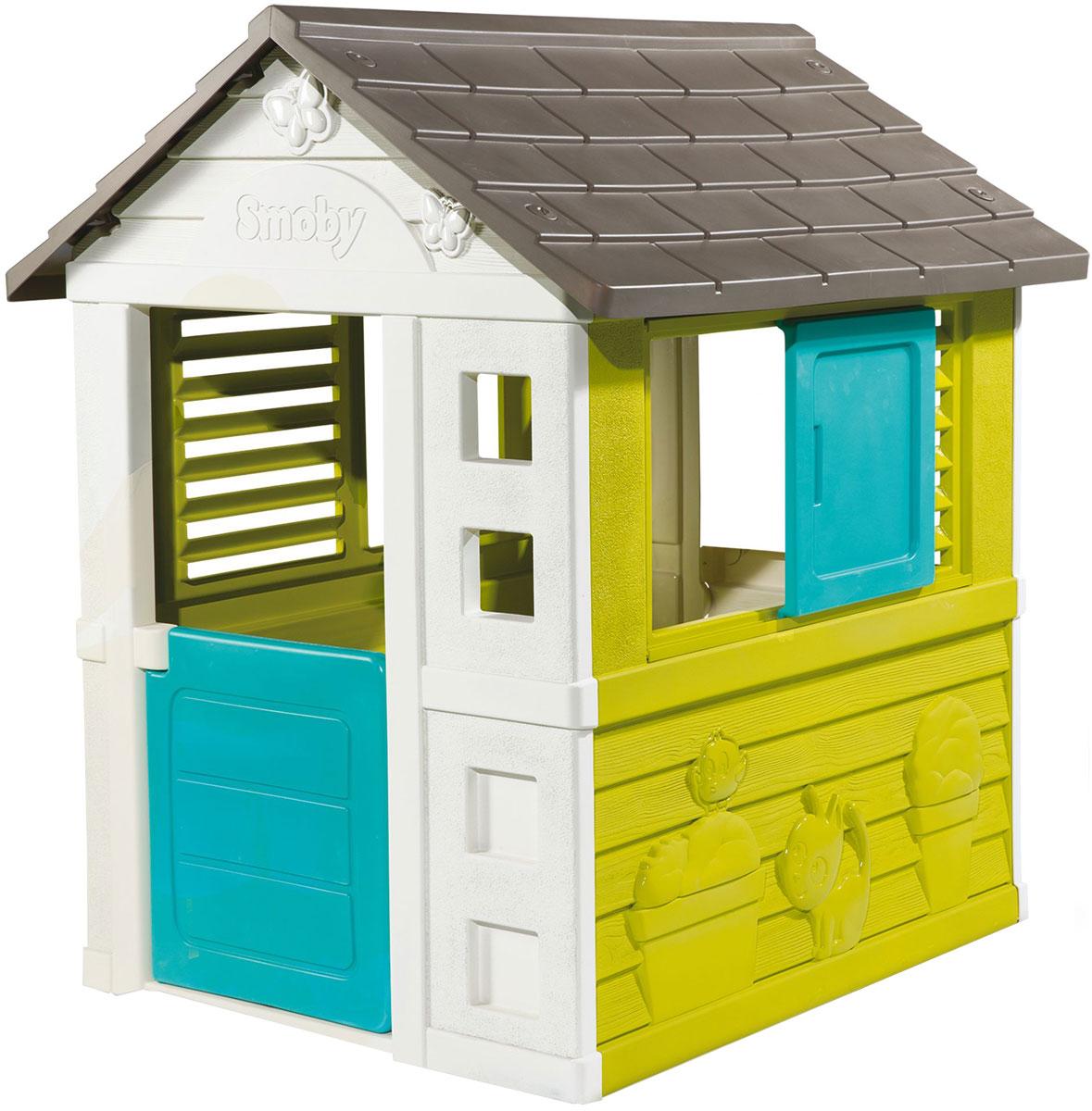 Небольшой игровой домик Smoby для детей от 2-х лет. Хорошо подходит для размещение дома и на улице. Дверь и окно открываются.Ключевые особенности:- Не выгорает на солнце- Сверхпрочный пластик- Легкая сборка- Французское производство.