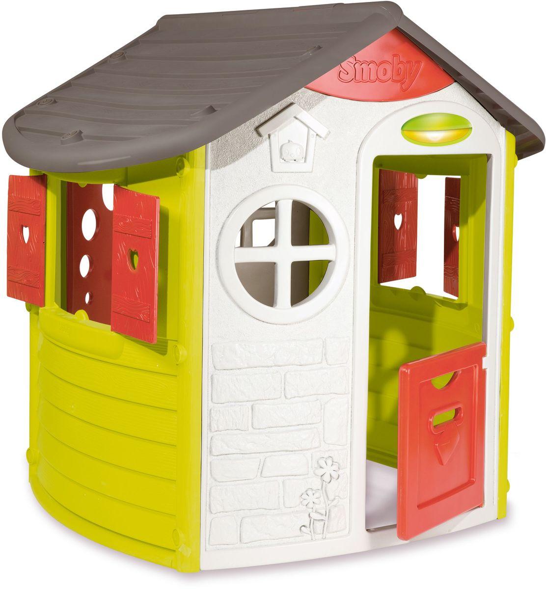 Домик Smoby сочетает в себе классический вид и дизайнерские элементы. В домике есть два окна, которые закрываются при помощи ставень, дверь с почтовым боксом и ключом, а также маленькая дверь с обратной стороны. Домик выполнен из высококачественного пластика - не выгорает на солнце и выдерживает морозы до -15 градусов.