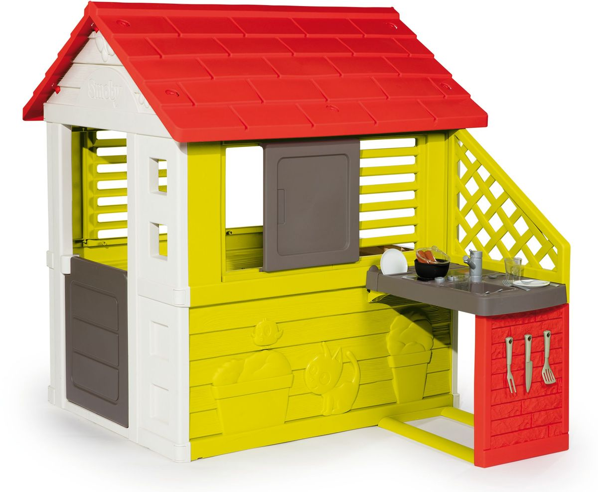 Играть на свежем воздухе весело и полезно. Чтобы игра была интереснее, можно поиграть в дом! Дети любят, когда у них есть свой собственный дом, ведь тогда к ним могут приходить гости. Для ещё более интересной игры домик оснащен настоящей кухней! Кухня оборудована всем самым необходимым: мойка, сушилка, плита. И аксессуары. В наборе: вилка для гриля, нож для гриля, лопатка для гриля, кастрюля, крышка, 2 сосиски, 2 тарелки, 2 ложки, 2 вилки, 2 ножа и 2 стакана. Домик выполнен из прочного пластика и обработан антиультрафиолетовым покрытием, которое защищает его от выгорания на солнце!