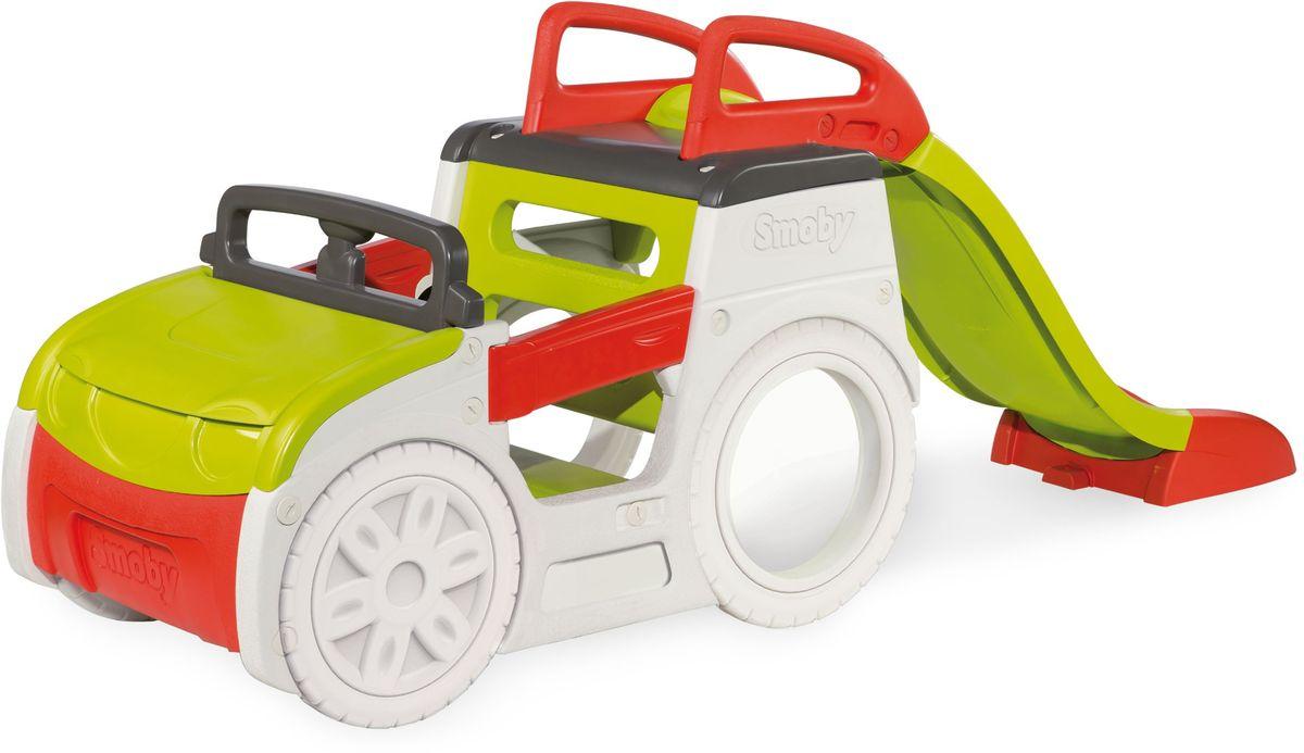 Новый игровой комплекс для летних приключений выполнен виде машинки с горкой. Скат горки составляет 150 см. Под капотом машины располагается удобная песочница, защищенная от дождя самим капотом. Двери машины открываются. Через задние колеса можно пролезть как в тоннеле. Если захочется управлять автомобилем, то есть музыкальный руль. Для работы руля необходимы батарейки LR44 – 3 шт. (входят в комплект). Весь пластик производится по особой технологии, которая позволяет выдерживать высокие нагрузки. Комплекс покрыт антиультрофиолетовым покрытием, защищающее его от выгорания на солнце, что позволяет сохранить красивый вид комплекса на протяжении многих лет.