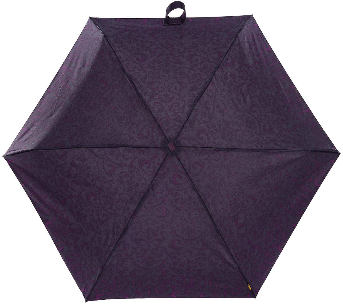Зонт женский Zest, механический, 5 сложений, цвет: фиолетовый, серый. 25518-325YY-11678-3Компактный женский зонт Zest выполнен из металла, пластика и оформлен ярким принтом.Каркас зонта выполнен из шести спиц на прочном стержне. На концах спиц предусмотрены металлические элементы, которые защитят владельца от травм. Купол зонта изготовлен прочного полиэстера. Закрытый купол застегивается на липучку хлястиком. Практичная рукоятка закругленной формы разработана с учетом требований эргономики и выполнена из пластика.Зонт складывается и раскладывается механическим способом.Такой зонт не только надежно защитит от дождя, но и станет стильным аксессуаром.