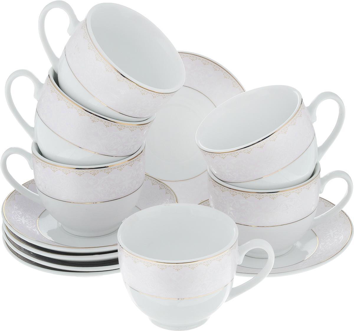 Набор чайный Loraine, 12 предметов. 2590225958Чайный набор Loraine состоит из шести чашек и шести блюдец. Изделия выполнены из высококачественного фарфора и оформлены нежным декором. Такой набор изящно дополнит сервировку стола к чаепитию. Благодаря оригинальному дизайну и качеству исполнения, он станет замечательным подарком для ваших друзей и близких. Объем чашки: 240 мл. Диаметр чашки (по верхнему краю): 8,5 см. Высота чашки: 7 см. Диаметр блюдца: 14 см.Высота блюдца: 2 см.