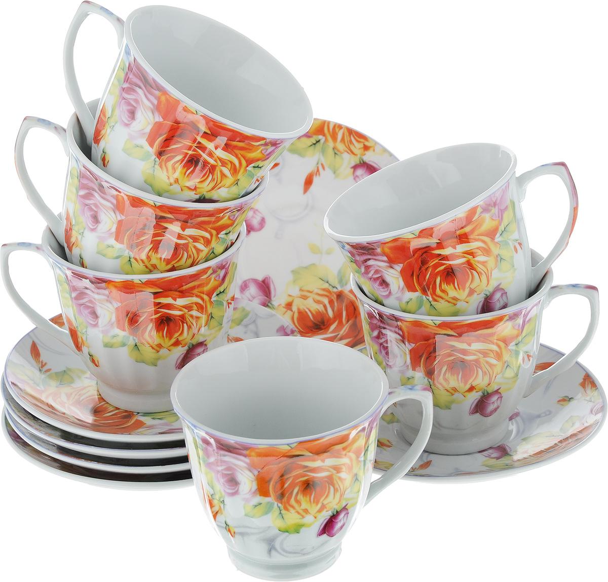 Набор чайный Loraine Розы, 12 предметов. 2253221395599Чайный набор Loraine Розы состоит из шести чашек и шести блюдец. Изделия выполнены из высококачественного фарфора и оформлены цветочным рисунком. Такой набор изящно дополнит сервировку стола к чаепитию. Благодаря оригинальному дизайну и качеству исполнения, он станет замечательным подарком для ваших друзей и близких. Набор упакован в красивую подарочную коробку.Объем чашки: 220 мл. Диаметр чашки (по верхнему краю): 8,7 см. Высота чашки: 7,5 см. Диаметр блюдца: 13,5 см.Высота блюдца: 2 см.