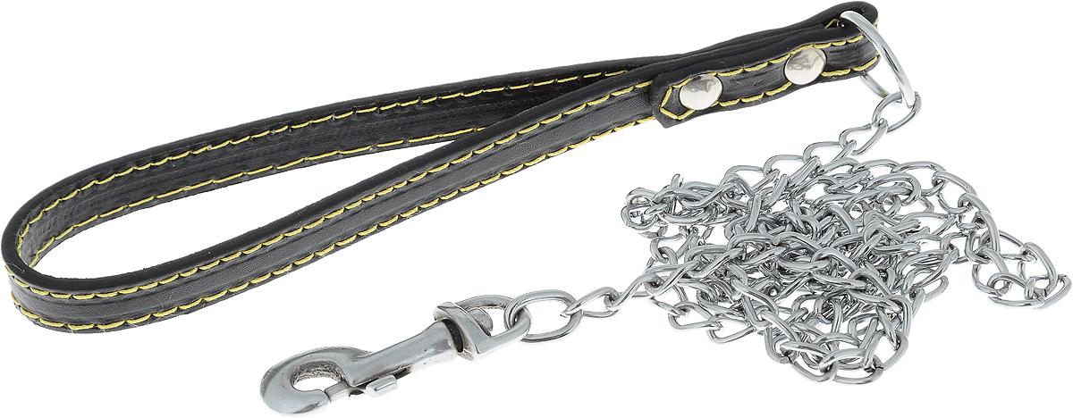 Поводок-цепь для собак Dezzie, цвет: черный, серебристый, толщина 1,6 мм, длина 120 см0120710Поводок-цепь для собак Dezzie - это удобная и качественная амуниция из хромированной стали и натуральной кожи. Поводок прост в использовании. Он поможет удерживать энергичного питомца во время прогулки, не навредив при этом его здоровью. Изделие пристегивается к ошейнику с помощью встроенного карабина. Такой поводок смотрится элегантно, идеально подходит для дрессировки и создан так, чтобы не причинить питомцам дискомфорта.Длина поводка: 120 см.Толщина цепи: 1,6 мм.