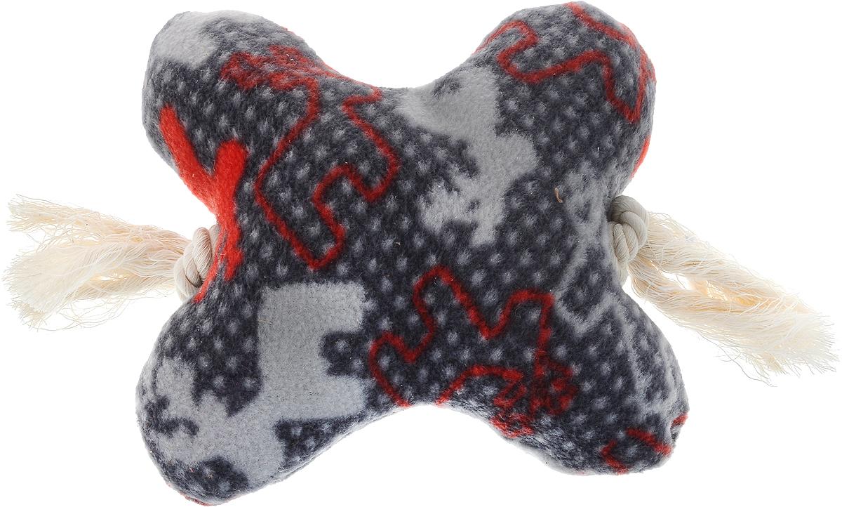 Игрушка для собак Zoobaloo Кость на канате, цвет: серый, красный, длина 25 см игрушка для собак zoobaloo гантель с пищалкой длина 13 см
