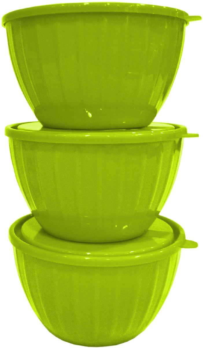 Набор салатников Giaretti Fiesta, с крышками, цвет: оливковый, 0,6 л, 3 шт115510Серия салатников Fiesta – новая итальянская новинка от Giaretti. Они выгодно подчеркнут преимущества ваших блюд. Салатники объемом 0,6 л удобно помещаются друг в друга, что позволяет практично использовать пространство для хранения. Идеально подходят для подачи салатов порционно, индивидуально каждому гостю.