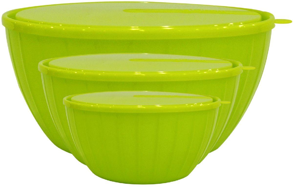 Набор салатников Giaretti Fiesta, с крышками, цвет: оливковый, 3 предмета115510Набор салатников Giaretti Fiesta специально создан для любителей готовить и истинных гурманов. Ваши кулинарные эксперименты надолго сохранят вкус и запах благодаря плотно закрывающейся крышке! Согласитесь, такой набор салатников порадует своей функциональностью! Объем большого салатника: 5 литров. Объем среднего салатника: 2,8 литра.Объем малого салатника: 1,7 литра.