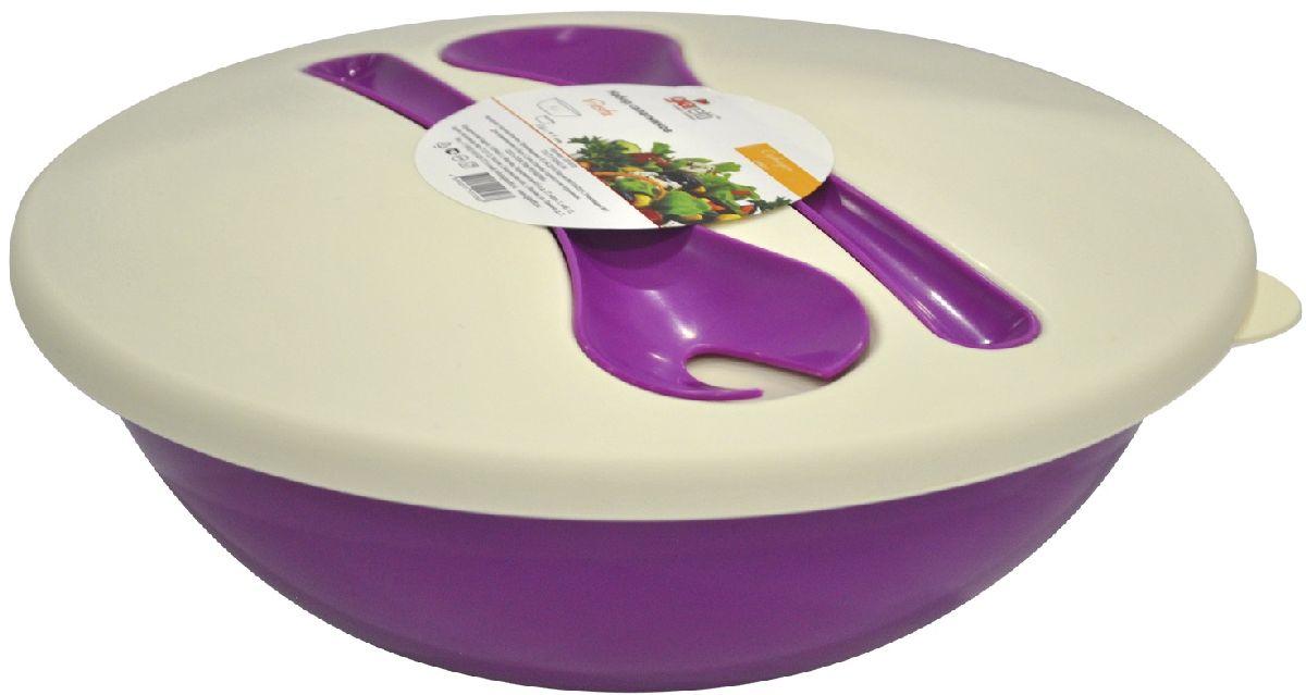 Салатник Giaretti Dolche, с крышкой и приборами, цвет: черничный, 3 лVT-1520(SR)Наслаждайтесь вашим свежим салатом, ведь в салатнике Giaretti Dolche готовить его одно удовольствие. Преимущества: стильный дизайн салатника украсит любой стол и дома, и на природе; с помощью приборов, входящих в комплектацию, вы легко размешаете ваш салат; оптимальный объем подойдет как для большой компании, так и для семейного обеда; плотная крышка сохранит свежесть ваших блюд. Приборы плотно крепятся на крышку, вы не потеряете их во время хранения и переноски.