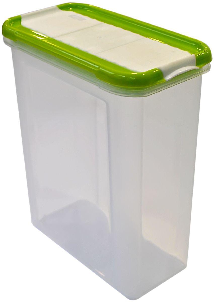 Банка для сыпучих продуктов Giaretti Krupa, с дозатором, цвет: оливковый, прозрачный, 1,5 лVT-1520(SR)Банки для сыпучих продуктов предназначены для хранения круп, сахара, макаронных изделий, сладостей и т.п., в том числе для продуктов с ярким ароматом (специи и пр.). Строгая прямоугольная форма банок поможет Вам организовать пространство максимально комфортно, не теряя полезную площадь. При этом банки устанавливаются одна на другую, что способствует экономии пространства в Вашем шкафу. Плотная крышка не пропускает запахи, и они не смешиваются в Вашем шкафу. Благодаря разнообразным отверстиям в дозаторе, Вам будет удобно насыпать как мелкие, так и крупные сыпучие продукты, что сделает процесс приготовления пищи проще.