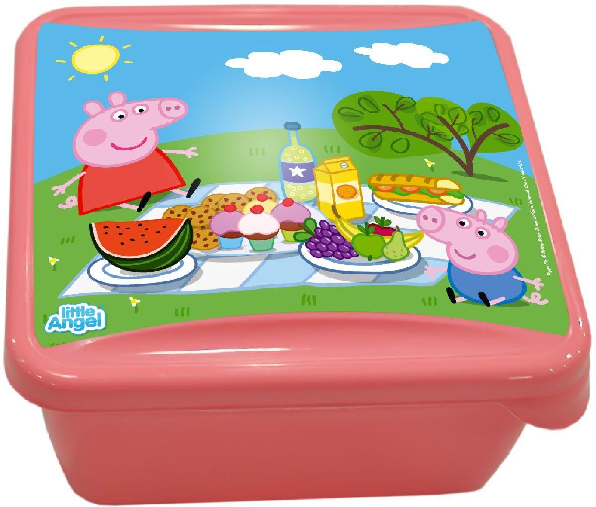 Ланч-бокс Little Angel Mini. Свинка Пеппа, цвет: розовый, 0,45 л21395599Наш универсальный ланч-бокс можно использовать как для хранения пищи в холодильнике, так и для того, чтобы брать с собой перекус на работу, в школу, на прогулку. Плотная защелка предотвратит ланч-бокс от открывания.