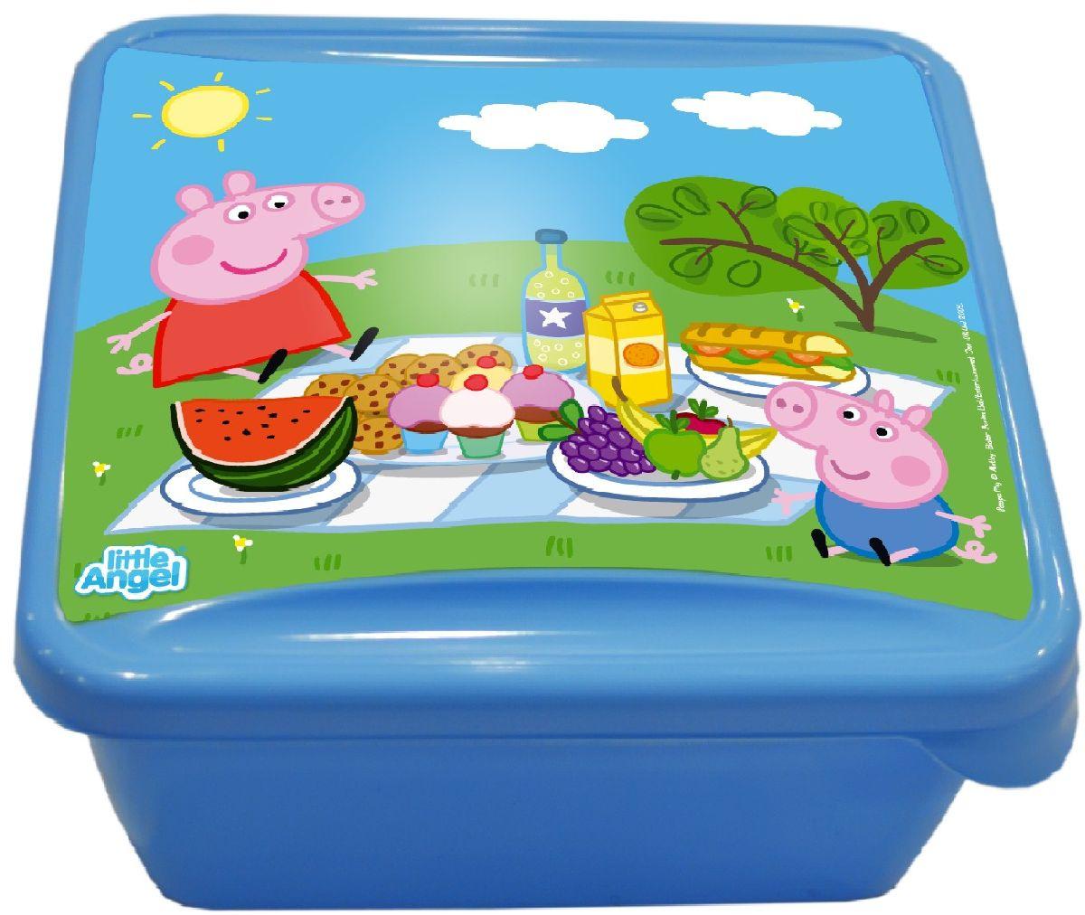 Ланч-бокс Little Angel Mini. Свинка Пеппа, цвет: голубой, 0,45 лVT-1520(SR)Наш универсальный ланч-бокс можно использовать как для хранения пищи в холодильнике, так и для того, чтобы брать с собой перекус на работу, в школу, на прогулку. Плотная защелка предотвратит ланч-бокс от открывания.