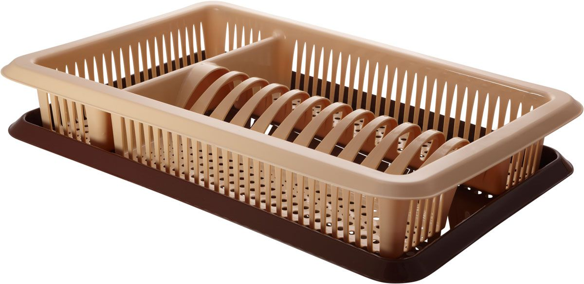Сушилка для посуды Plastic Centre Лилия, с поддоном, цвет: бежевый, коричневый, 48 х 30,5 х 8,5 смВетерок 2ГФУниверсальная сушилка для посуды. В комплект входит поддон для стока воды с посуды.