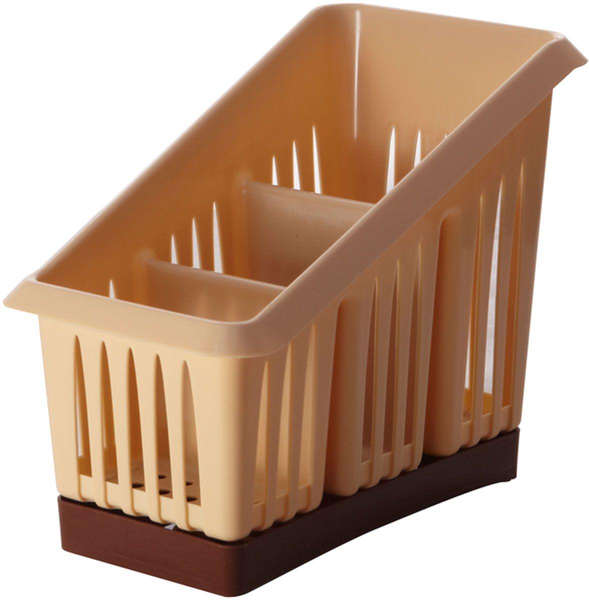 Сушилка для столовых приборов Plastic Centre Лилия, 3-секционная, цвет: бежевый, коричневый, 20 х 12 х 16 смVT-1520(SR)Сушилка для столовых приборов пригодится на любой кухне. Три секции позволят сушить или хранить столовые приборы по отдельности (ножи, вилки, ложки и т.п.). Сушилка снабжена поддоном для стока воды с приборов.Размер сушилки: 20 х 12 х 16 см.