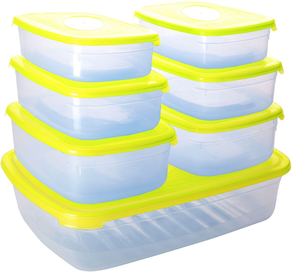 Набор контейнеров для СВЧ Plastic Centre Galaxy, 7 штПЦ2225ЛМННабор Plastic Centre Galaxy состоит из семи прямоугольных контейнеров для СВЧ, изготовленных из высококачественного полипропилена, который выдерживает температуру от -40°С до +110°С. Стенки емкостей прозрачные. Контейнеры оснащены цветными крышками, которые плотно закрываются, поэтому продукты остаются дольше свежими и вкусными. Емкости удобно брать с собой на работу, учебу, пикник или просто использовать для хранения пищи в холодильнике. Можно использовать в микроволновой печи. Можно мыть в посудомоечной машине.Размер контейнера на 0,75 л (без учета крышки): 18,5 х 12 х 4,5 см.Размер контейнера на 1,2 л (без учета крышки): 20,5 х 13 х 5,5 см.Размер контейнера на 1,6 л (без учета крышки): 22 х 15 х 7 см.Размер контейнера на 4,75 л (без учета крышки): 33 х 24,5 х 8,5 см.