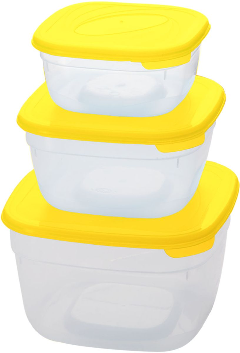 Комплект емкостей для СВЧ Plastic Centre Galaxy, цвет: желтый, прозрачный, 3 штFS-91909Комплект емкостей для СВЧ разных размеров многофункционального применения. Их можно применять как для хранения различных продуктов, так и для разогрева пищи, замораживания ягод и овощей в морозильной камере и т.п. При хранении продуктов емкости можно ставить одну на другую, сохраняя полезную площадь холодильника или морозильной камеры.Объем маленькой емкости: 1 л.Объем средней емкости: 2 л.Объем большой емкости: 3 л.