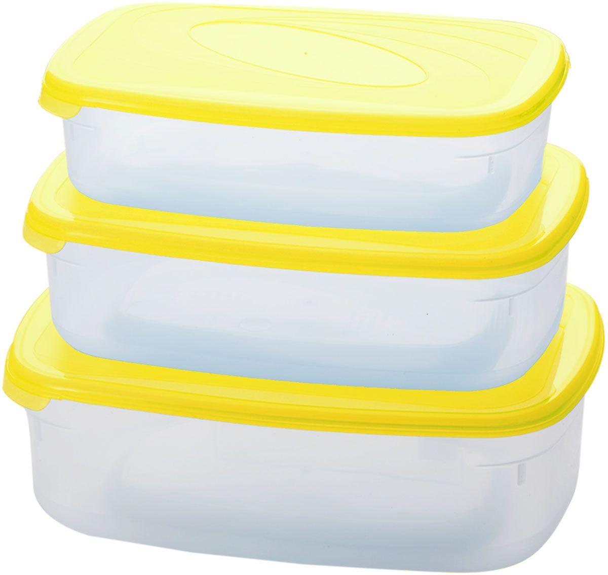 Комплект емкостей для СВЧ Plastic Centre Galaxy, цвет: желтый, прозрачный, 3 шт. ПЦ2234ЛМН68/5/3Комплект емкостей для СВЧ разных размеров многофункционального применения. Их можно применять как для хранения различных продуктов, так и для разогрева пищи, замораживания ягод и овощей в морозильной камере и т.п. При хранении продуктов емкости можно ставить одну на другую, сохраняя полезную площадь холодильника или морозильной камеры.Объем маленькой емкости: 750 мл.Объем средней емкости: 1,2 л.Объем большой емкости: 1,6 л.