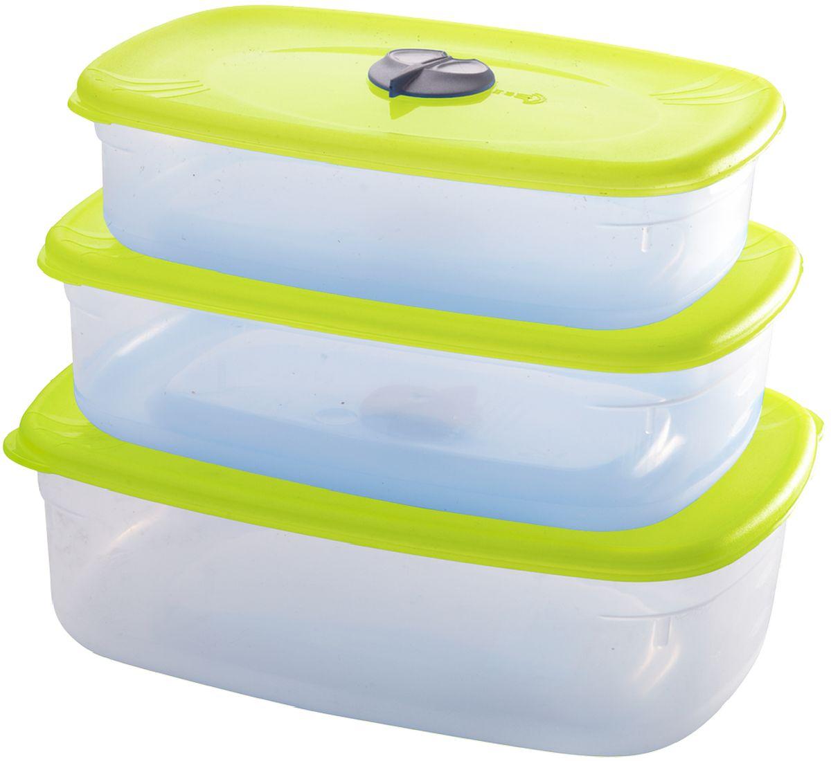 """Комплект емкостей для СВЧ """"Plastic Centre"""", с паровыпускным клапаном, цвет: светло-зеленый, прозрачный, 3 предмета"""