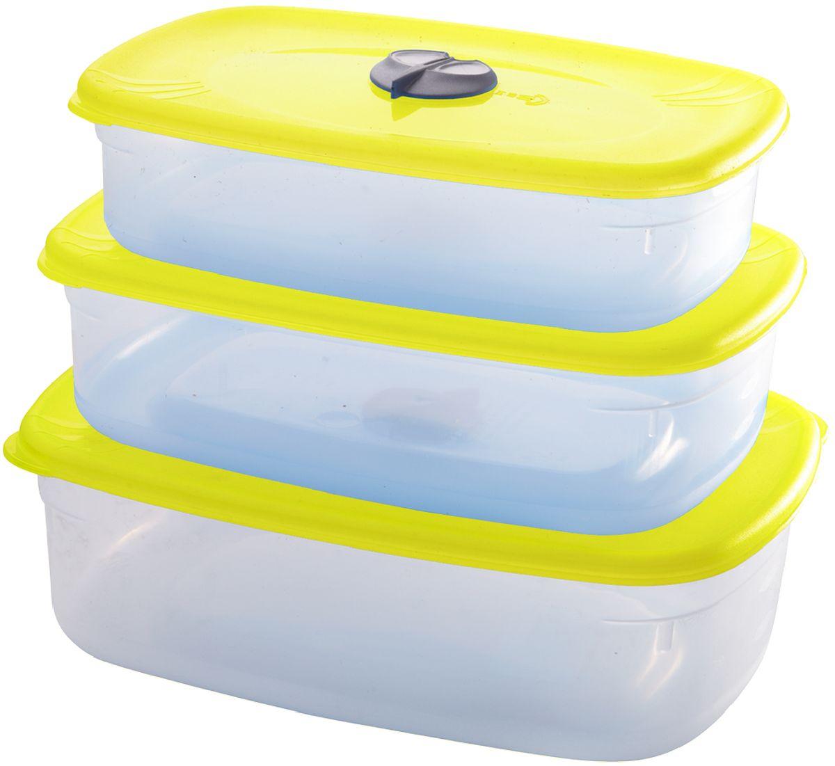 Комплект емкостей для СВЧ Plastic Centre, с паровыпускным клапаном, цвет: желтый, прозрачный, 3 шт68/5/3Набор многофункциональных емкостей для хранения различных продуктов, разогрева пищи, замораживания ягод и овощей в морозильной камере и т.п. При хранении продуктов емкости можно ставить одну на другую, сохраняя полезную площадь холодильника или морозильной камеры.Объем маленькой емкости: 750 мл.Объем средней емкости: 1,2 л.Объем большой емкости: 1,6 л.