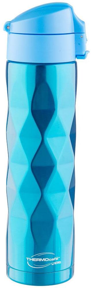 Термос Thermocafe By Thermos, цвет: голубой, 0,5 л. TTF-503-B67742Необычный рельефный 3D термос Thermocafe By Thermos покрыт множеством выпуклых ромбов. Термос выполнен из нержавеющей стали. Пластиковая крышка-пробка снабжена фиксатором от случайного открытия, откидывается полностью и фиксируется, поэтому его удобно использовать в движении.Объем: 500 мл.