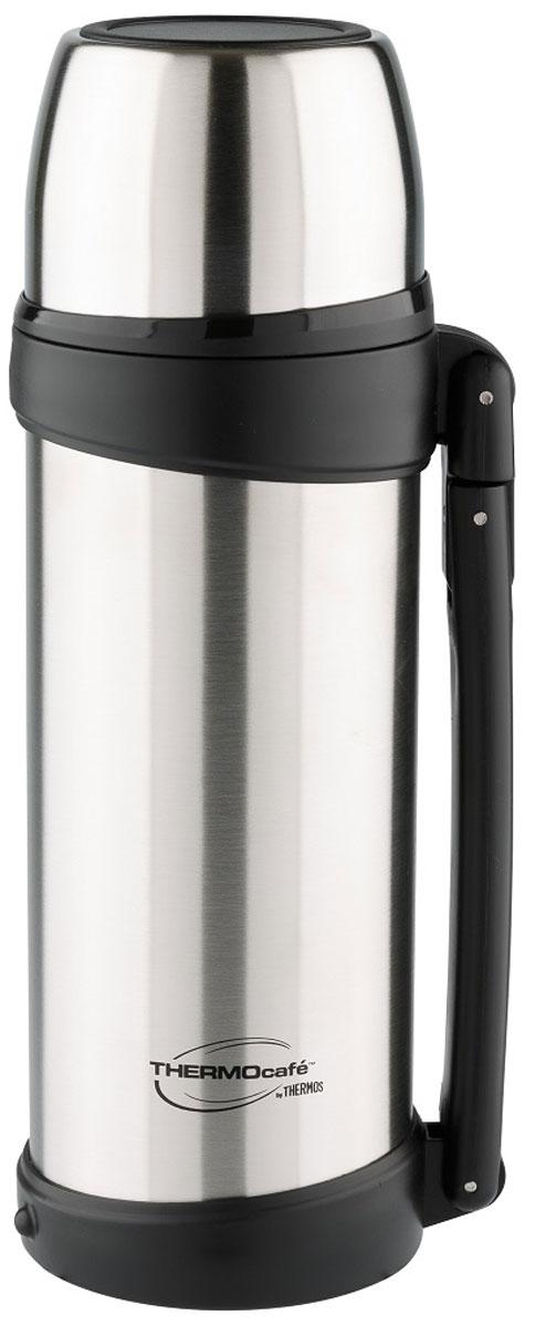 Термос Thermocafe By Thermos, цвет: стальной, 1,8 л. XTGH9-100115510Термос XTGH9-100 выполнен из нержавеющей стали.Выливать напитки из термоса можно повернув крышку на пол-оборота. Увеличенная по объему крышка-чашка понравится любителям больших порций. Для удобства использования и транспортировки термос имеет складную ручку.Объем: 1,8 л.