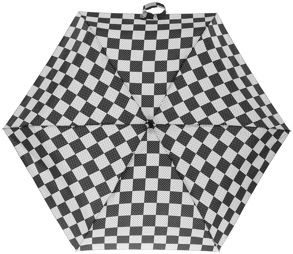 Зонт женский Zest, механический, 5 сложений, цвет: черный, белый. 25518-103Серьги с подвескамиКомпактный женский зонт Zest выполнен из металла, пластика и оформлен ярким принтом.Каркас зонта выполнен из шести спиц на прочном стержне. На концах спиц предусмотрены металлические элементы, которые защитят владельца от травм. Купол зонта изготовлен прочного полиэстера. Закрытый купол застегивается на липучку хлястиком. Практичная рукоятка закругленной формы разработана с учетом требований эргономики и выполнена из пластика.Зонт складывается и раскладывается механическим способом.Такой зонт не только надежно защитит от дождя, но и станет стильным аксессуаром.