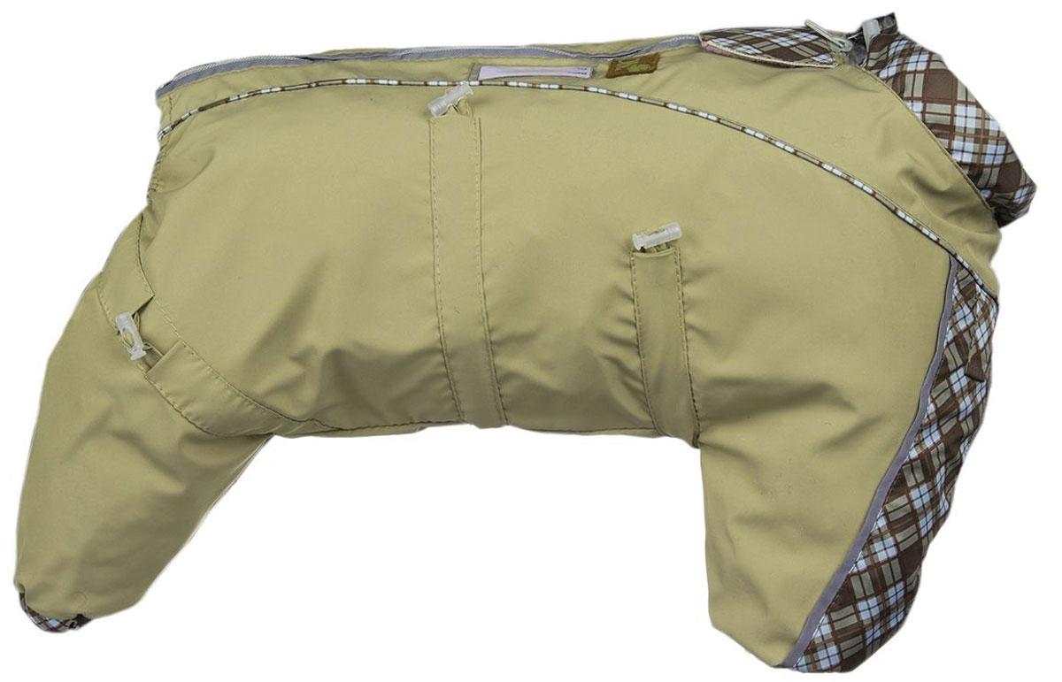 Комбинезон для собак Dogmoda Doggs, для девочки, цвет: бежевый. Размер M0120710Комбинезон для собак Dogmoda Doggs отлично подойдет для прогулок в прохладную погоду.Комбинезон изготовлен из полиэстера, защищающего от ветра и осадков, а на подкладке используется вискоза, которая обеспечивает отличный воздухообмен. Комбинезон застегивается на молнию и липучку, благодаря чему его легко надевать и снимать. Молния снабжена светоотражающими элементами. Низ рукавов и брючин оснащен внутренними резинками, которые мягко обхватывают лапки, не позволяя просачиваться холодному воздуху. На вороте, пояснице и лапках комбинезон затягивается на шнурок-кулиску с затяжкой. Благодаря такому комбинезону простуда не грозит вашему питомцу.Длина по спинке: 35 см.Объем груди: 68 см.Обхват шеи: 52 см.