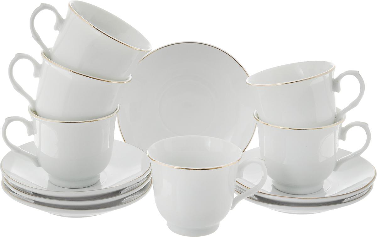 Набор кофейный Loraine, 12 предметов. 2561225612Набор кофейный Loraine состоит из 6 чашек и 6 блюдец, выполненных из высококачественного белоснежного фарфора. Золотистая эмаль дополняет края изделий. Такой набор отлично подойдет для сервировки стола. Он порадует вас классическим дизайном, практичностью и качеством. Изысканно белый цвет с золотым декором придает набору элегантный вид. Диаметр чашки (по верхнему краю): 6 см. Высота чашки: 5,5 см. Объем чашки: 90 мл. Диаметр блюдца: 11 см.