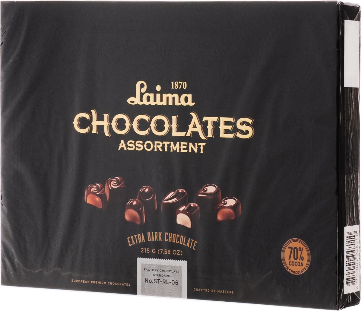Laima Книги Ассорти конфет в горьком шоколаде, 215 г0120710Ассорти конфет в горьком шоколаде 4 разные формы 3 начинки-молочный крем,крем-какао,крем-ирис-тоффи)