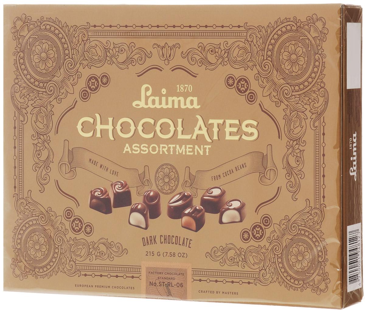 Laima Книги Ассорти конфет в темном шоколаде, 215 г0120710Ассорти конфет в темном шоколаде 4 разные формы 3 начинки-молочный крем,крем-какао,крем-ирис-тоффи)