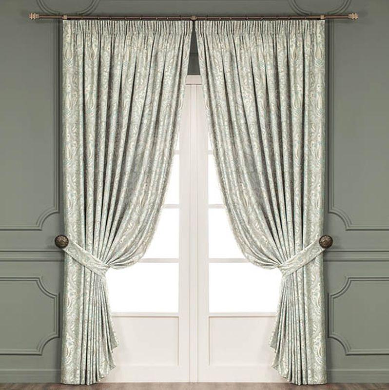 Комплект штор Togas Стелла, на ленте, цвет: зеленый, высота 275 см956251325Роскошный комплект штор Togas Стелла, выполненный из 100% полиэстера, великолепно украсит любое окно. Комплект состоит из двух штор и двух подхватов. Приятная на ощупь ткань, красивый узор и приглушенная гамма привлекут к себе внимание и органично впишутся в интерьер помещения. Комплект крепится на карниз при помощи шторной ленты, которая поможет красиво и равномерно задрапировать верх. Шторы можно зафиксировать в одном положении с помощью двух подхватов. Этот комплект будет долгое время радовать вас и вашу семью!