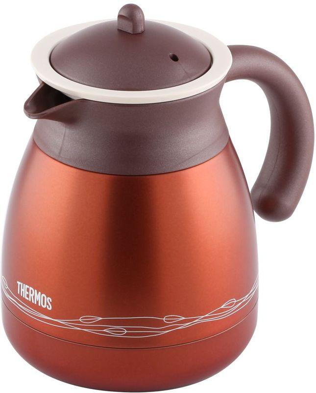 Термос-кувшин Thermos, цвет: коричневый, 0,6 л. TGR-601432964Настольный термос TGR-60 выполнен из нержавеющей стали со стальной колбой для заварки чая или кофе.Удивительные свойства чая, травяных настоев или молотого кофе проявляются в наилучшем качестве, если заваривать их в термосе. По сравнению с керамическим или стеклянным чайником для заварки эта модель намного дольше сохраняет тепло.Объем: 600 мл.