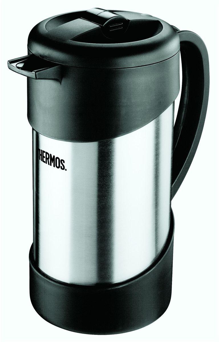 Термос-кофепресс Thermos, цвет: стальной, 1 л. NCI 1000836564Термос кофе-пресс Thermos выполнен из нержавеющей стали со стальной колбой для заваривания молотого кофе. Также термос хорош для заваривания чая и травяных настоев.Принцип его действия основан на поршневой системе отжима, как у стеклянных кофе-пресс, но при этом можно наслаждаться вкусом и ароматом свежеприготовленного напитка 6 часов. Термос сохраняет напитки горячими в три раза дольше по сравнению с обычным кофе-прессом со стеклянной колбой. Легкость в использовании: засыпать в кофе-пресс молотый кофе, залить кипящую воду, накрыть крышкой с ситечком, через 3-5 минут опустить поршень вниз.Объем: 1л .