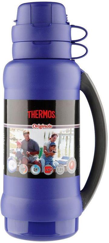 Термос Thermos, цвет: синий, 1,8 л. 273C923721Повышенная прочность стеклянной колбы. Визуальная защита от подделки. Полностью герметичен. Благодаря боковым стопперам, термос устойчив в горизонтальном положении.