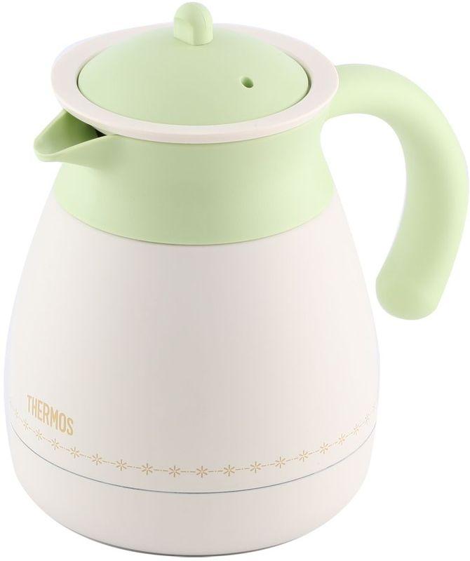 Термос-кувшин Thermos, цвет: бело-зеленый, 0,6 л. TGR-60167742Настольный термос TGR-60 выполнен из нержавеющей стали со стальной колбой для заварки чая или кофе.Удивительные свойства чая, травяных настоев или молотого кофе проявляются в наилучшем качестве, если заваривать их в термосе. По сравнению с керамическим или стеклянным чайником для заварки эта модель намного дольше сохраняет тепло.Объем: 600 мл.