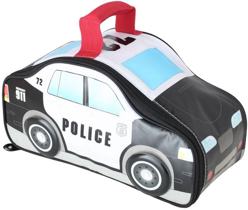 Термосумка детская Thermos Police Car Novelty, цвет: черно-белый, 5 лNN-627-LS-RИзотермическая сумка для перевозки и хранения комплексного обеда Police Car Novelty выполнена в виде полицейской машины, с крутящимися колесами..При изготовлении мягких сумок-термосов используется внутренний слой из водонепроницаемого материала Peva, он гигиеничен, герметичен, легко очищается.Объем: 5 л.
