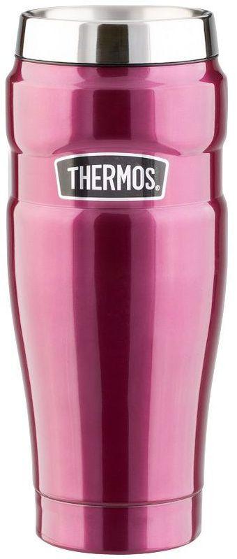 Термокружка Thermos, цвет: малиновый, 0,47 л. SK10052427012001Кружка-термос Thermos выполнена нержавеющей стали, она имеет высокие свойства сохранения температур, которые делают её уникальной, не имеющей мировых аналогов. Великолепное покрытие превращает кружку в отличный подарок, украшение салона автомобиля. Из нее можно пить, не снимая крышки. На крышке расположена удобная задвижка, которая защищает от расплескивания и попадания пыли внутрь кружки. Кружка полностью герметична.