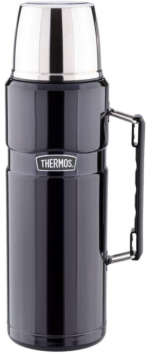 Термос Thermos, цвет: черный матовый, 1,2 л. SK 2010115510Стиль, заданный самим названием серии King, подчеркивается благородством цветовых решений, используемых в этой модельной линии. Модель выделяется складной ручкой, созданной для удобного размещения в багаже и полноразмерной чашкой, выполненной из нержавеющей стали. Термос оснащен герметичной поворотной пробкой, позволяющий выливать жидкость, не отвинчивая пробку полностью.Объем: 1,2 л..