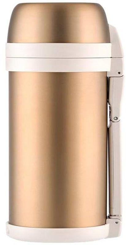 Термос Thermos, цвет: золотой матовый, 1,4 л. FDH-1405VT-1520(SR)Термос из нержавеющей стали FDH предназначен для длительного сохранения температуры горячего и холодного (до 36 часов). Такие показатели достигаются благодаря технологии производства глубокого вакуума. Этот термос легок и компактен. Используется технология уменьшения веса изделия при увеличении объема внутренней колбы.Термос с комбинированным горлом предназначен для еды и напитков. Удобная в использовании стильная пробка из высококачественного пластика с откидной крышкой. Термос укомплектован дополнительной пластиковой чашкой, складной ручкой и ремнем для переноски.Объем: 1,4 л.